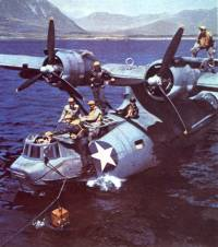 PBY Catalina in the water with its crew