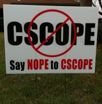 CSCOPE Protest Sign
