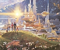 A cropped portion of Robert McCall's mural,The Prologue and the Promise