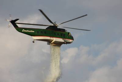 Closeup of Helicopter Dumping Water Just Outside Tanglewood