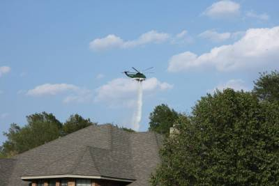 Helicopter Dumping Water Just Outside Tanglewood